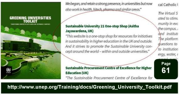 UNEP publishes Greening Universities Toolkit